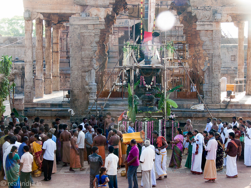 Flag hoisting for the Chithirai Festival, Periya Koil, Thanjavur
