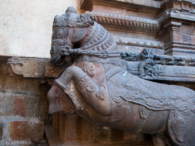 Stone horse sculpture