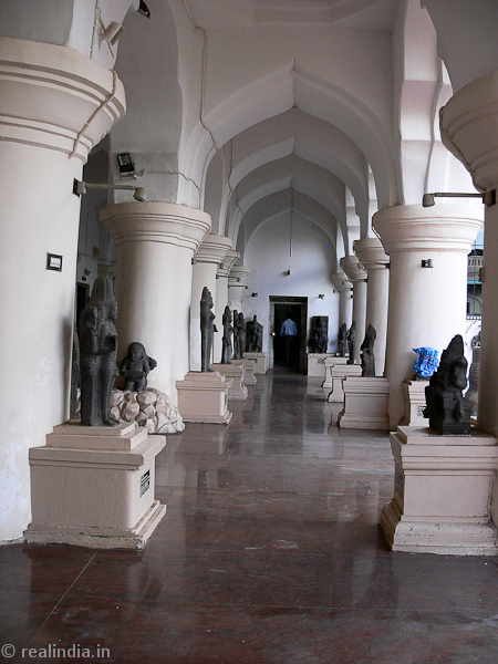 Corridors lined with priceless stone sculptures of Tamil Nadu