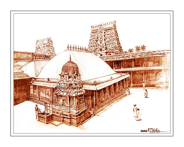 Artistic impression of the Chidambaram Nataraja Temple (Source: Unknown, Only for representative purpose).
