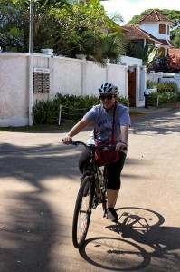 Cyclist exploring Fort Kochi